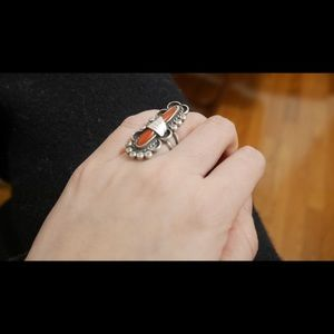 Jewelry - Natural Coral and sterling silver ring